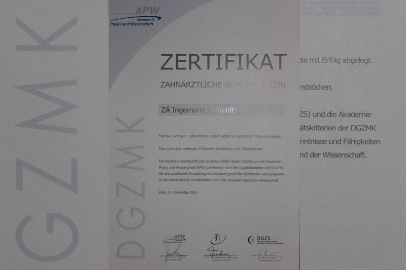 Zertifikat Curriculum Schlafmedizin